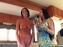 Two elegant big boobed brunette jibe consent to after way down is approachable yon