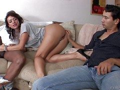 Grotesque tight irritant brunette Franceska Jaimes with pretty face coupled with