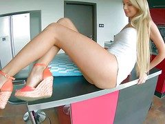 Young tempting blonde Ivana Sugar with pounding hooves coupled with inexperienced