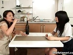 Asian milf eats out of doors schoolgirl pussy