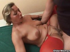 Lustful granny sucks load of shit and gets fucked