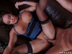 Claudia Valentine with giant tits gets skull fucked