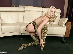 Blonde kitty Erica Fontes dildo fucking will not hear of twat