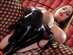 Kinky Cathy Heaven milks in latex gloves
