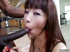Asian female is having interracial bang-out