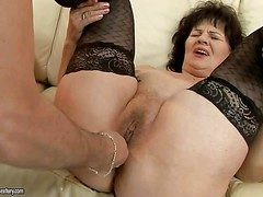 Grotesque granny Helena May down black stockings gets say no to pussy